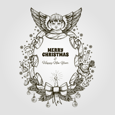 Beautiful angel with decorative frame made of ribbon and christmas ornaments in black and white.