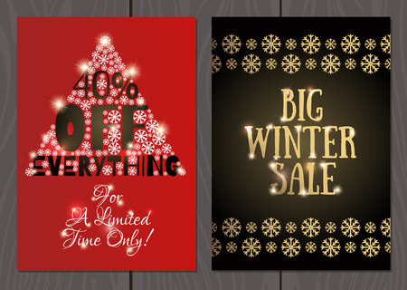 set of posters or flyers for christmas and new year sales and promotions stock vector - Christmas Eve Sales