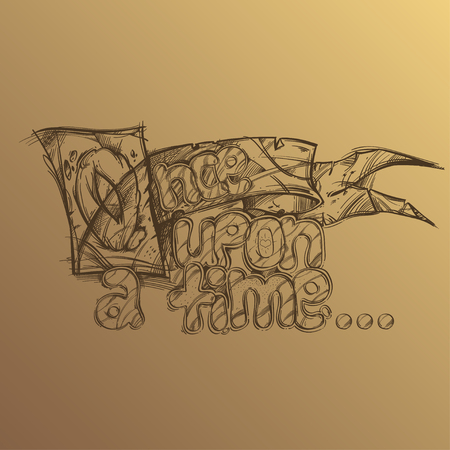 Once upon a time. Hand drawn inscription on beige background.