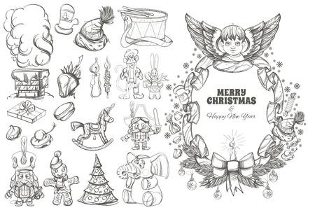 Beau cadre avec ange et éléments de design décoratif pour cartes de voeux de Noël et du nouvel an, affiches, livres à colorier et autres articles Banque d'images - 90849233