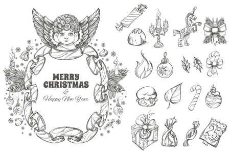 Christmas and New Year decorative design elements. Illustration