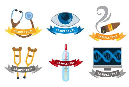 Set of medical medical logos isolated on white background. Stock Photo