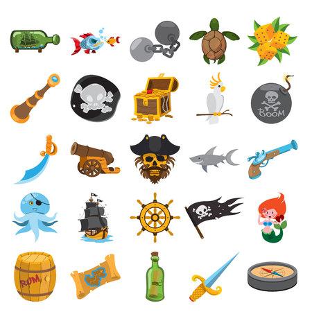 Icônes de course de pirate, icônes de pirate avec trait