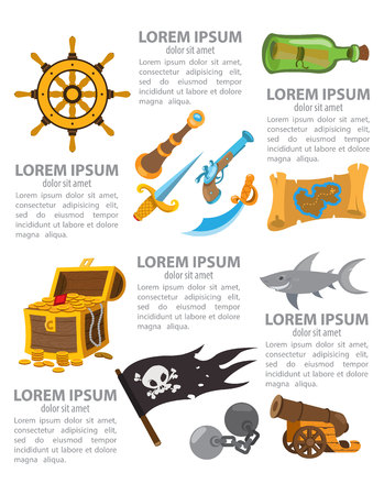 Pirate infographics, pirate legends. Vector illustration on white background. Illustration