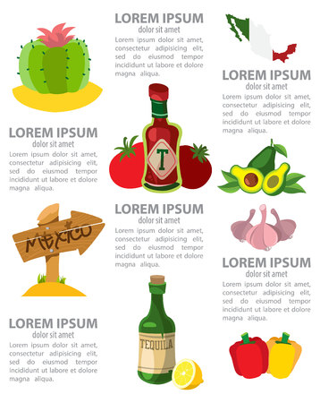 Infographic of Mexico, mexican traditions, mexican culture Illustration