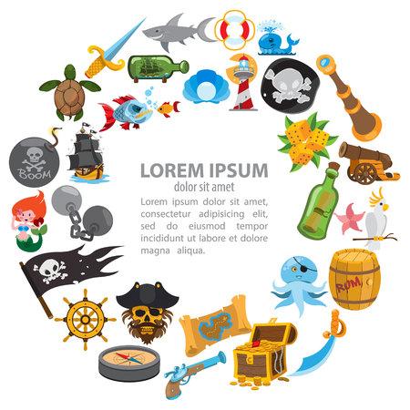 Rundes Kompositionspiratenthema, Piratengeschichte, Abenteuer.