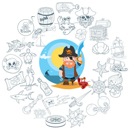 Round composition pirate theme, pirate history, adventure, outline drawing, contour icons. Illustration