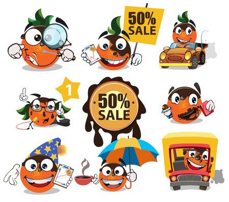 Sale sticker cartoon orange illustration.