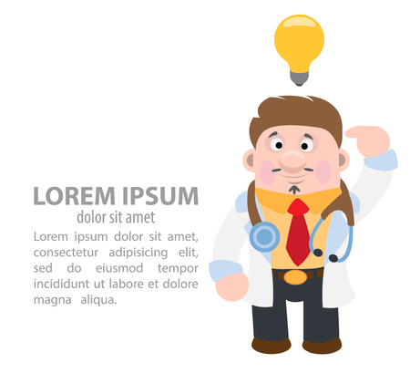 Doctor has an idea. Vector illustration on white background