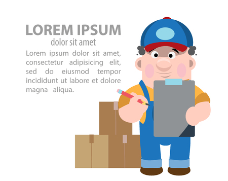 Storekeeper takes into account goods in cartoon illustration.