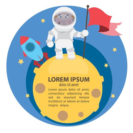 O primeiro homem na ilustração do vetor da lua.