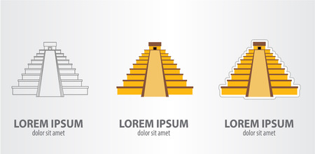 Icon Mayan pyramid. Vector illustration on gray background Illustration