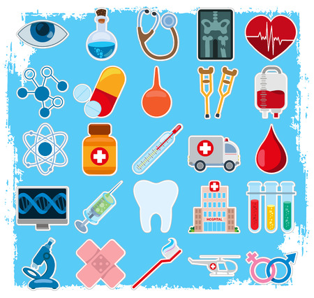 Hospital and other things related to it in cartoon colorful illustration.