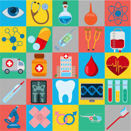 Diffrent icons related to hospital