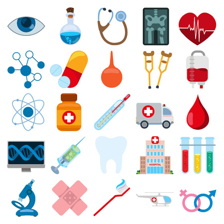 Different things related to hospital. Set of icons isolated on white background. Stock Photo