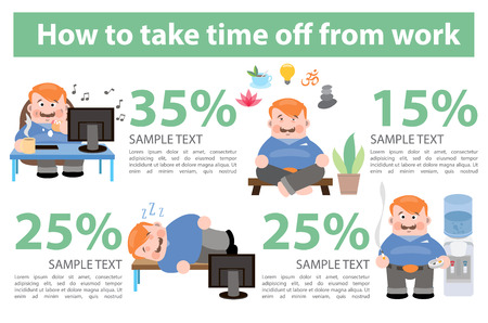 How to take time off from work. Vector infographics Stock Vector - 92870247
