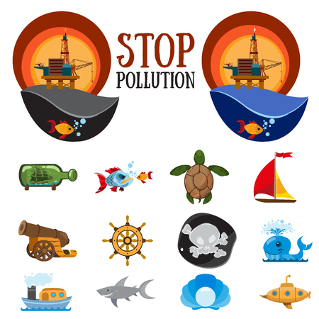 Set of colorful figures on environmental protection, stop water pollution and natural resources, and the nature of the oil industry.