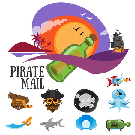Set of colorful patterns pirate mail, adventure and life of pirates.
