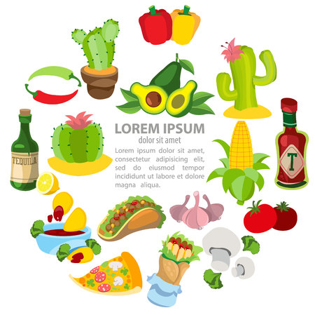 Mexican related icons Vector illustration set