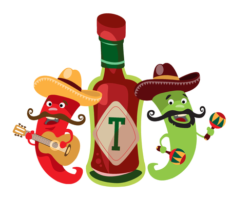 Peppers and the hot Mexican sauce. Ilustracje wektorowe