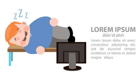 Sleeping in the workplace illustration. Stock Vector - 93570362