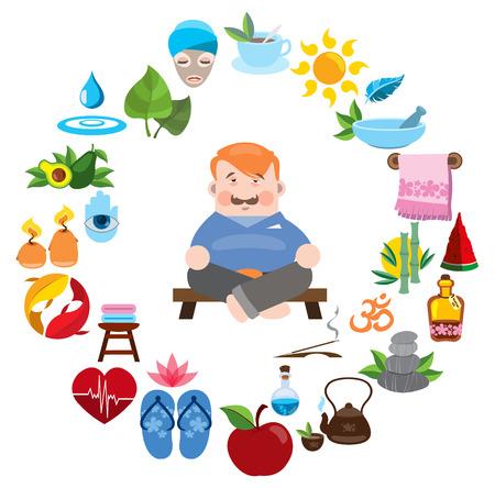 Man meditates, round composition, spa, yoga studio, natural medicine clinic