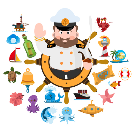 Captain with travel graphic design in colorful illustration.