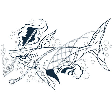 Wounded shark. Outline vector illustration isolated on white background.