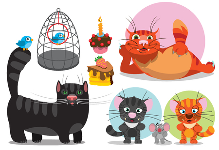 Bird, cat, mouse, cartoon characters vector illustration.