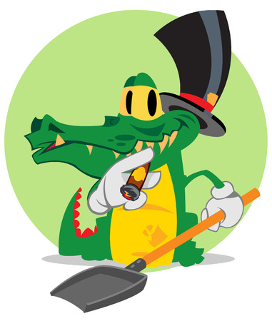 Vector cartoon cute crocodile, animal, financier.