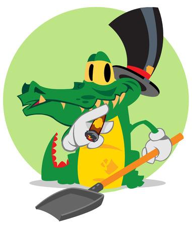 Vector cartoon cute crocodile, animal, financier.