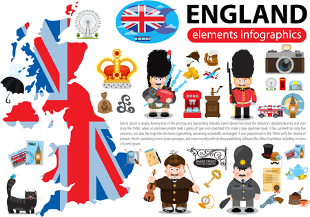 England elements infographics, London, United Kingdom vector illustration.