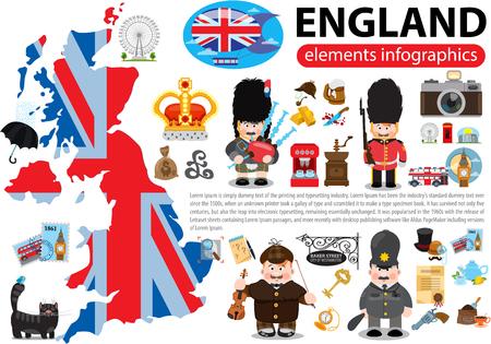 England elements infographics, London, United Kingdom vector illustration.
