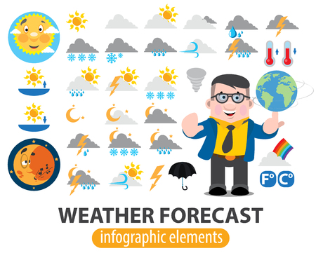 Weather forecast infographics elements, TV weather news reporter at work, TV weather prediction forecast male news reporter. Illustration
