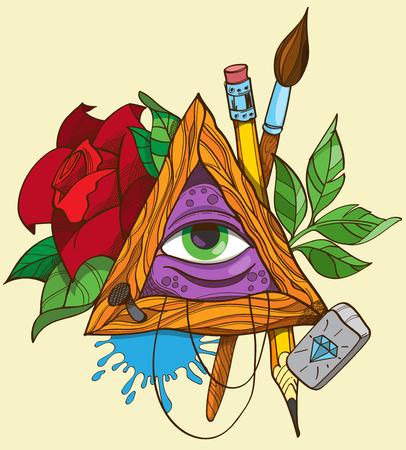 All seeing eye pyramid symbol, tattoo vector illustration.