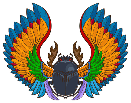 Scarab insect with wings, tattoo style vector illustration. Stock Illustratie