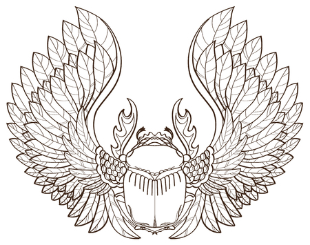 Scarab beetle, sketch, symbol of pharaoh, tattoo.