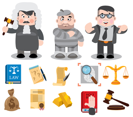 Cartoon characters, judge, defendant, lawyer