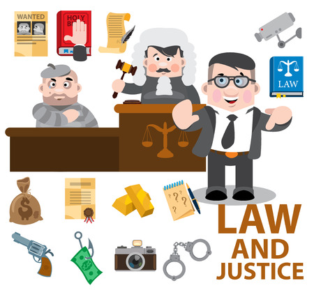 Law and justice, cartoon characters, judge, defendant, lawyer. Set of vector illustrations isolated on white background. Çizim