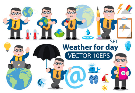 Weather for day, forecast, tv programm, infographics 矢量图像