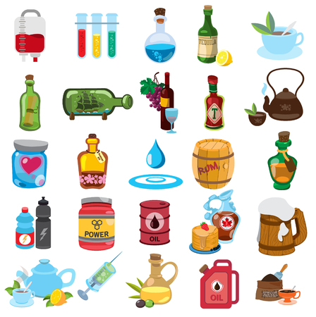 A set of icons with various objects and liquids. Laboratory tubes, tea, oil.