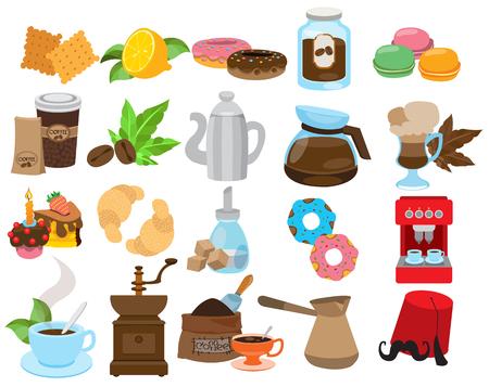 Icone di caffetteria, ristorante, caffetteria Vettoriali