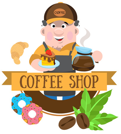 Coffee shop logo, cartoon character
