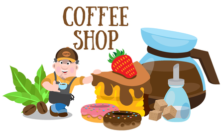 Coffee shop icon logo Vector illustration. Stock Vector - 96591656
