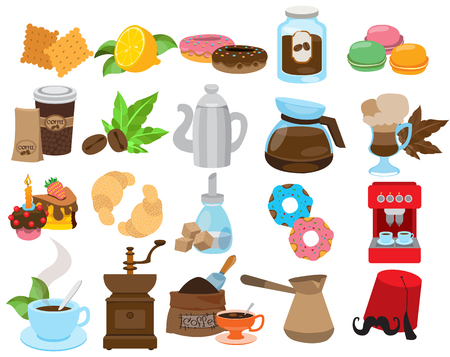 Coffeeshop, restaurant and cafe icons. Set of vector illustrations isolated on white background