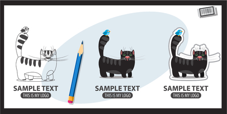 Icons with the image of a black cat with blue bird on the tail. Illustration