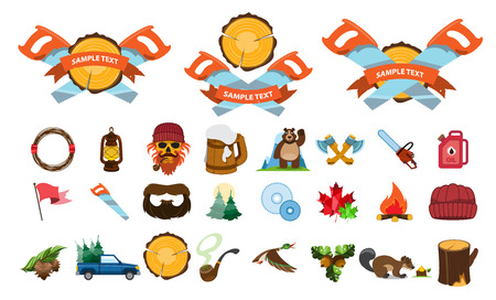 Vector set of lumberjack