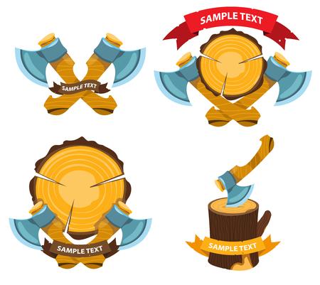 Lumberjack label with axes Ilustración de vector
