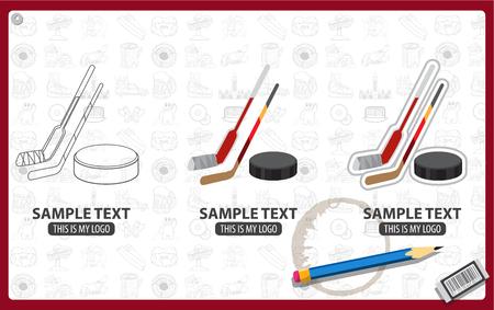 Hockey sticks and puck logo, ice hockey