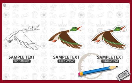 Mallard duck flying logo, bird, animal